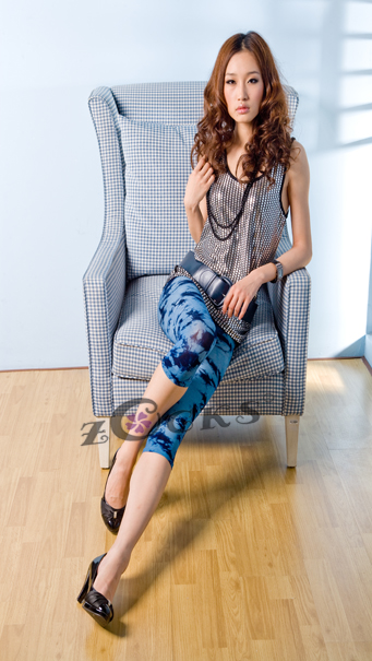 Legging in blue pattern
