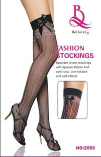 Thigh high stocking in black with vertical lines and bolds at top