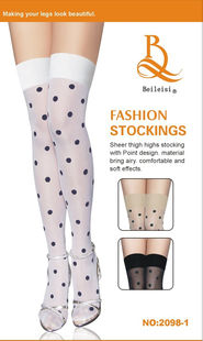 Thigh high stocking in white with black dots