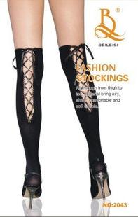 Over knee high stocking in black with lace