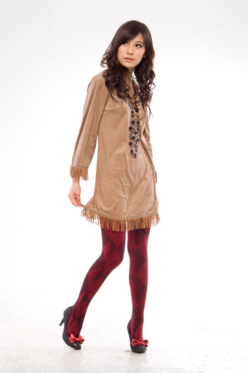 Full length stocking in red/wine with cross pattern
