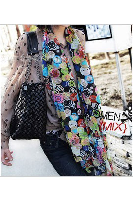 Scarf in black with smiling faces in mixed colors