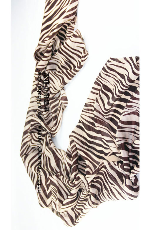 Scarf in Coffee with zebra prints