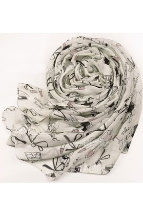 Scarf in cream with patterns of lady's hats, handbags, etc.