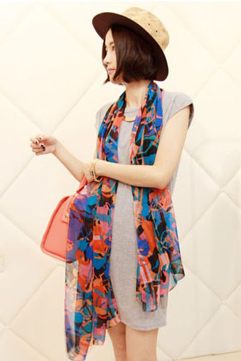 Scarf colorful pattern navy orange