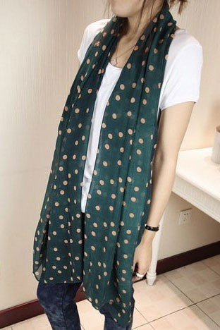 scarf green color with pink dots