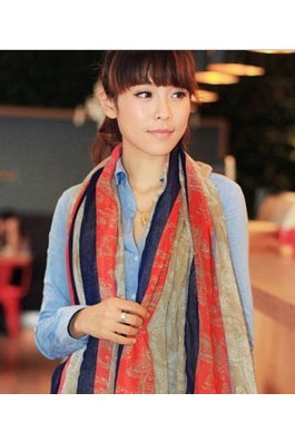Scarf with straight line in red blue beige