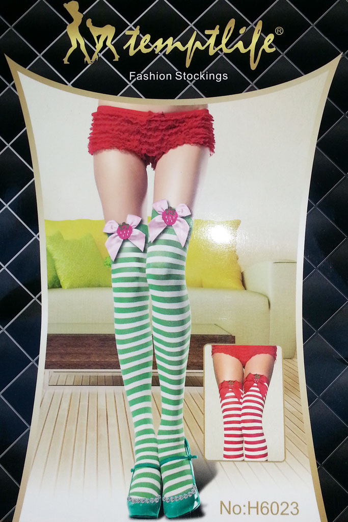 Over knee high stocking with stripes