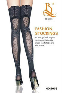 Thigh high stocking in black with fishnet at rear